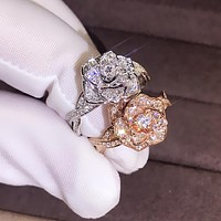 New 18K rose gold plated simulation diamond ring rose flower ladies wedding ring