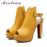 Peep Toe Chains Sequined Thick High Heels Womens Sandals Yellow Black