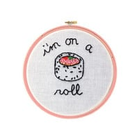 """I'm on a Roll Sushi 4"""" Embroidery Hoop Wall Hanging Wall Art"""