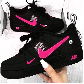 Copy of NIKE AIR FORCE 1 Tide brand simplified version OW low-top shoes blue hook