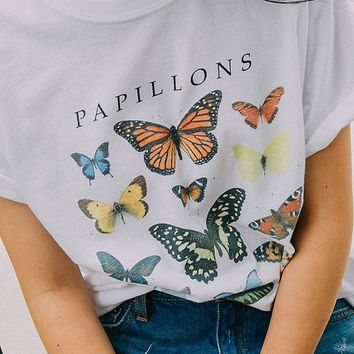 Butterfly Crew-Neck Tee   Urban Outfitters