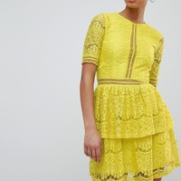 Missguided Lace Layered Mini Dress at asos.com