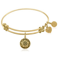 Expandable Yellow Tone Brass Bangle with  Supernatural Anti-Possession Symbol