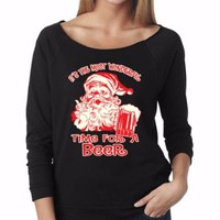 It's The Most Wonderful Time For A Beer. Funny Christmas Raglan Sweater. Xmas