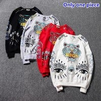 KENZO autumn and winter casual hot embroidery zipper tiger head long-sleeved sweater