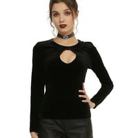 Black Velvet Keyhole Girls Top