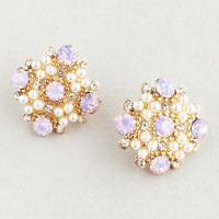 Rose Pink & Pearls Stud Earrings