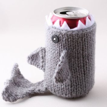 $18.00 Monster Shark  for your Soda Can  Silver Grey  was by Handamade