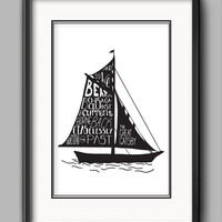 """Printable Great Gatsy Boat Poster - """"And so we beat on, boats against the current, borne back ceaselessly into the past."""""""
