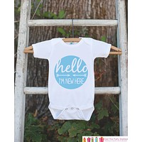 Hello I'm New Here Onepiece - Hipster Arrow Bodysuit for Newborn Baby Boys - Going Home Outfit - Coming Home Onepiece - Boy Hospital Outfit