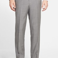 BOSS 'Sharp' Flat Front Solid Wool Trousers,