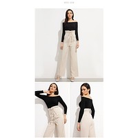 fhotwinter19 Hot-selling high-waist wide-leg pants women's elegant ruffled lace-up trousers