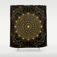 Geometric Circle Black and Gold Shower Curtain by Fimbis