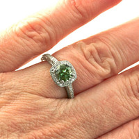 14K Green Sapphire Engagement Ring Diamond Halo Sapphire Ring 14K 18K White Yellow Rose Gold Platinum Palladium Bridal Jewelry