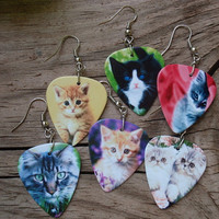 Kitties Guitar Pick Earrings - Your Choice Color - Pierced or Clip On