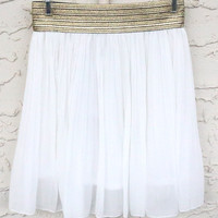 Queen Of The Nile White Pleated Skirt With Gold Waistband
