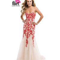 (PRE-ORDER) Flirt by Maggie Sottero 2014 Prom Dresses - Poppy Nude Strapless Tulle Dress with Lace Appliques