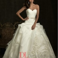 Organza Sweetheart Ball Gown Sleeveless Wedding Dress with Removable Ribbon Sash and Flower AB8918
