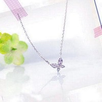 Shiny Jewelry Gift New Arrival Korean Stylish 925 Silver Butterfly Necklace [7587127431]