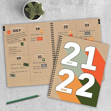 July 2021-June 2022 Color Bloc Large Daily Weekly Monthly Planner + Coordinating Planning Stickers