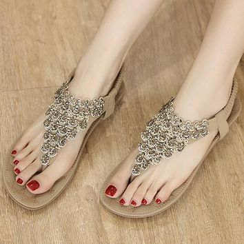 New style sandals women's large size elastic flat shoes with lace rhinestones
