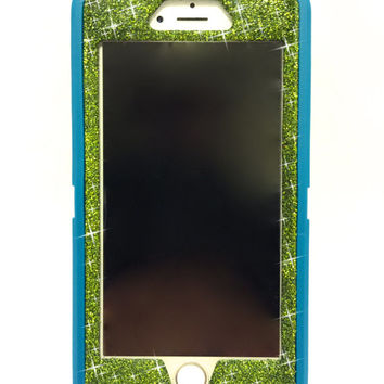 iPhone 6 (4.7 inch) OtterBox Defender Series Case Glitter Cute Sparkly Bling Defender Series Custom Case  teal / green