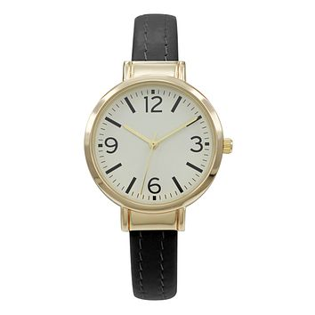 47571 - BLACK VEGAN LEATHER CUFF BANGLE WATCH WITH GOLD CASE & GOLD DIAL