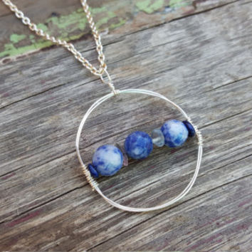 The Compass   Elegant Round Sodalite Necklace   Geometric Jewelry   Sterling Silver Wire Stone Circle Bar Necklace   Lapis Stone Jewelry