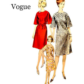 1960s Vogue Shift Dress Pattern 5930 One Piece Easy to Make Flared Sleeves Shoulder Yoke Vintage Sewing Patterns Size 16 Bust 36 Uncut