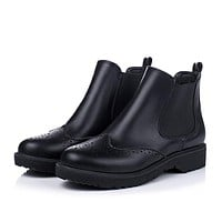 Retro Round Toe Oxfords Ankle Boots Low Heeled Motorcycle Boots 4874