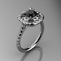 French 14K White Gold 1.0 Ct Black And White Diamond Engagement Ring R1028-14KWGDBD