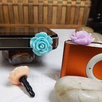 3 colors Cute Rose Sweet Colorful Dust Plug -3.5mm Phone Earphone Cap Dustproof Plug Charms for iPhone 4 4S 5 Samsung itouch HTC