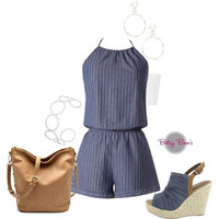 Set 453: Chambray Romper (includes romper, bandeau & jewelry)