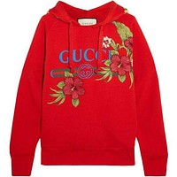 GUCCI Women Fashion Embroidery Rose Flower Top Sweater Pullover Hoodie