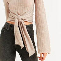 UO Tie-Front Bell Sleeve Top | Urban Outfitters