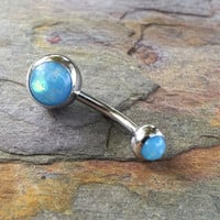 Aqua Blue Opal Belly Button Ring Synthetic Opal
