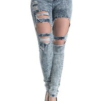 Acid Wash Destroyed Skinny Fit Jeans