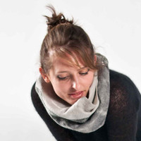Felted fashion -  infinity scarf - felted scarf - for women -  white grey -handmade