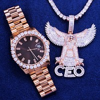 Chocolate Dial Stainless Steel Watch Rose Gold Eagle CEO Combo