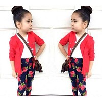 Baby girl clothes fashion girl red cotton cardigan + T-shirt + flower pants kids clothes