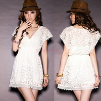 Overall Lace V-neck Tunic Fitted Trim Tunic Womens Perspective See Through Mini Dress  Vestidos SV001384 = 1745449092