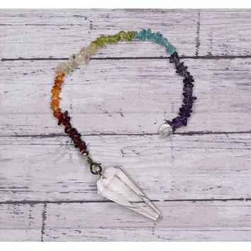 CRYSTAL QUARTZ Pendulum - 7 Chakras Colors with Clear Quartz Point - Divination Tool