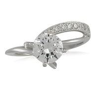 Vivadore Sweeping Contemporary Diamond Engagement Ring with Milgrain Detailing