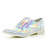 Silver holographic lace up brogues - brogues / loafers - shoes / boots - women