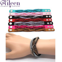 Fashion Leather Bracelet Crystal Rhinestone Wrap Bracelets For Women Punk Multilayer Bracelets& Bangles Ladies Braclet Jewelry