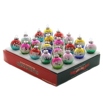 Shiny Brite Ombre Flocked Rounds Set / 20 Ornament Christmas Confetti - 4027742.