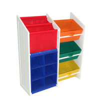 RiverRidge Home Products 02-040 Kids Super Storage w/Three Primary Colored Bines, Book Holder and Six Slot Cubby