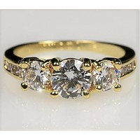 Misty Three Stone Gold Engagement Ring | 3.3ct | Cubic Zirconia  | 18k Gold