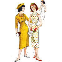 Vintage Sewing Pattern 50s Sleeveless Wiggle Dress Double Breasted Cropped Bolero Jacket Teen Size Small Medium Bust 33 McCall's 4490