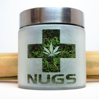 Nugs Etched Glass Stash Jar or Edibles Canister with Pot Leaf - Air Tight Glass Stash Jar, Smell Resistant Herb Storage - Cannabis Gift